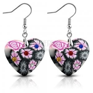 FIMO fülbevaló horgokon, szürke szív rózsaszín virágokkal és cirkóniákkal