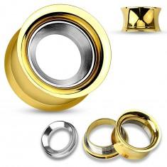 Acél fültágító alagút arany színben ezüst árnyalatú körrel, magas fényesség