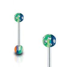 Nyelv piercing -  multicolor, beágyazott tiszta cirkóniák