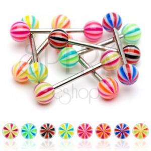 Nyelv piercing - háromszínű golyócskák