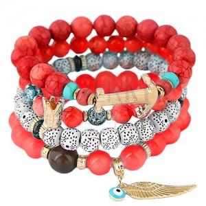 Multikarkötő piros, fehér és korall színű gyöngyökből, medálok