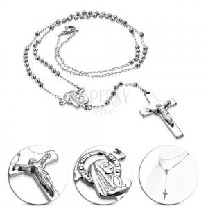 Nyaklánc 316L acélból ezüst színben - rózsafüzér Szűz Máriával és kereszttel