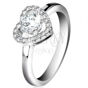 Ródiumozott gyűrű, 925 ezüst, csillogó szív körvonal és kerek átlátszó cirkónia