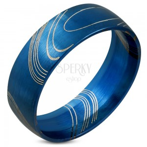 Kék gyűrű sebészeti acélból, matt felület vékony vonalakkal, 8 mm