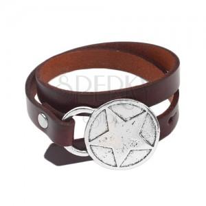 Karkötő barna színű műbőrből, csuklón kétszer körbetekerhető, csillag