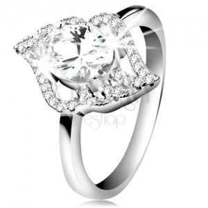 925 ezüst gyűrű, átlátszó levél körvonala nagy ovális cirkóniával