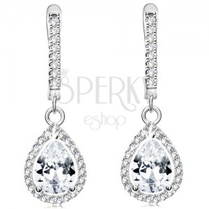 Fülbevaló 925 ezüstből, átlátszó könnycsepp alakú cirkónia csillogó körvonalban
