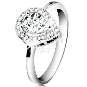 Ródiumozott gyűrű, 925 ezüst, átlátszó cirkóniás könnycsepp csillogó körvonalban