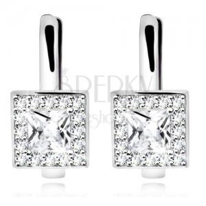 Ródiumozott fülbevaló, 925 ezüst, átlátszó négyzet alakú cirkónia csillogó szegéllyel