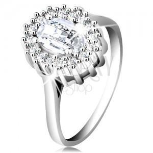 Eljegyzési gyűrű 925 ezüstből, ovális csiszolt cirkónia, szegély apró cirkóniákból