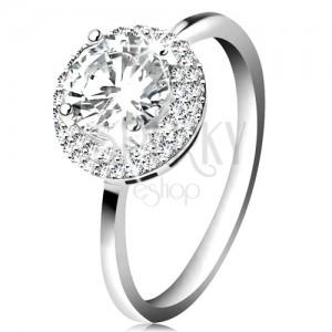 Ródiumozott gyűrű, 925 ezüst, kerek átlátszó cirkónia, csillogó szegély