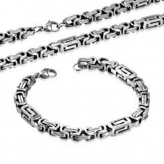 Szett sebészeti acélból - nyaklánc és karkötő ezüst színben, hasábok kivágásokkal