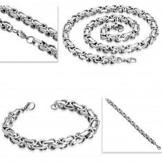 Acél nyaklánc és karkötő, vastag szögletes lánc ezüst színben