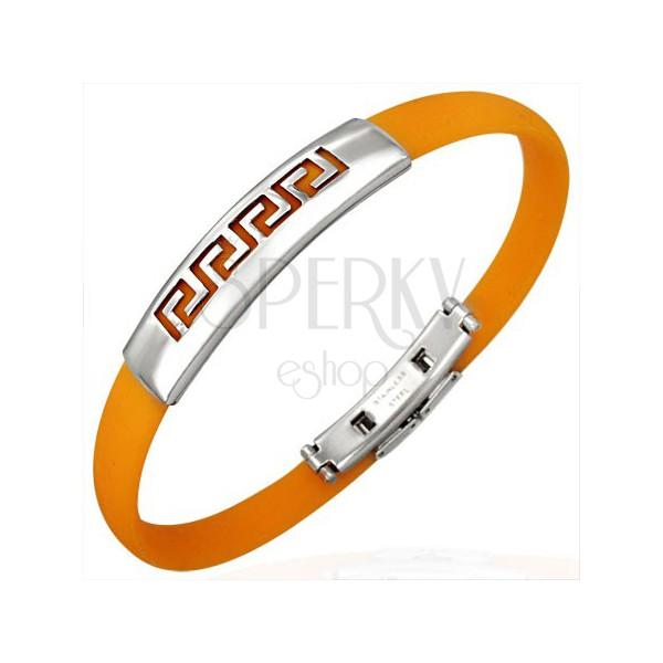 Narancssárga gumi karkötő - görög kulcs