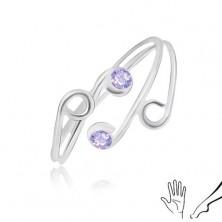 Gyűrű 925 ezüstből kézre vagy lábra, vékony szárak lila cirkóniákkal