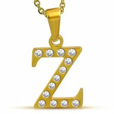 Fényes acél medál arany színben, Z betű átlátszó cirkóniákkal kirakva