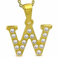 Medál sebészeti acélból arany színben, nyomtatott W betű cirkóniákkal díszítve