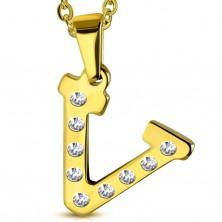 Acél medál arany árnyalatban, V betű átlátszó cirkóniákkal kirakva
