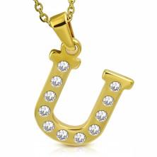 Medál sebészeti acélból arany színben, nyomtatott U betű cirkóniákkal díszítve