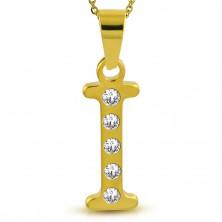 Medál sebészeti acélból arany színben, nyomtatott I betű cirkóniákkal díszítve