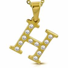 Acél medál arany árnyalatban, H betű átlátszó cirkóniákkal kirakva