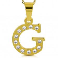 Medál arany színben, sebészeti acél, nyomtatott G betű cirkóniákkal díszítve