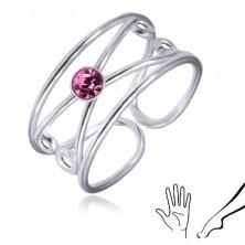 925 ezüst gyűrű - kerek világoslila cirkónia, dupla hurok