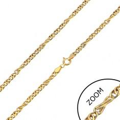 Lánc sárga 585 aranyból - nyolcas és ovális alakú szemek, 450 mm