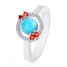 925 ezüst gyűrű - cirkóniás karika, akvamarin-kék közép
