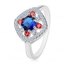925 ezüst gyűrű, sötétkék közép, átlátszó és piros cirkóniák