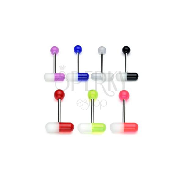316L acél nyelv piercing – kétszínű UV kapszula, 1,6 mm