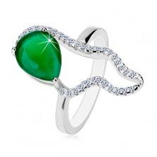 925 ezüst gyűrű - nagy zöld könnycsepp alakú cirkónia, átlátszó aszimmetrikus körvonal