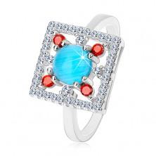 Gyűrű 925 ezüstből, átlátszó négyzet alakú cirkónia, világoskék kör középen