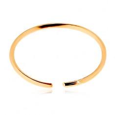 Orrpiercing sárga 14K aranyból - fényes vékony karika, sima felület