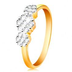 585 arany gyűrű - három csillogó virág átlátszó cirkóniákból, vékony fényes szárak