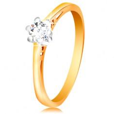14K arany gyűrű - átlátszó cirkónia fehér aranyból készült foglalatban, kivágások a szárakon