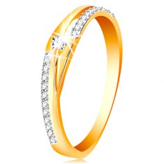 585 arany gyűrű - szárak osztott vonalai, csillogó sávok és átlátszó cirkónia