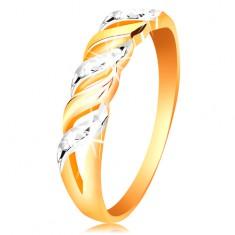 585 arany gyűrű - hullámok fehér és sárga aranyból, csillogó bemetszések