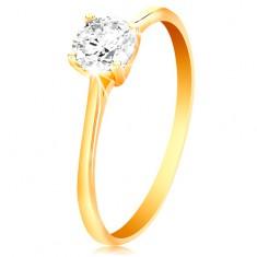 Gyűrű sárga 14K aranyból - csillogó átlátszó cirkónia fényes kiemelt foglalatban