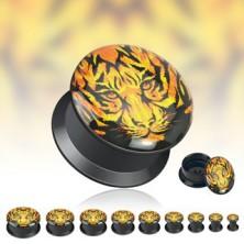 Fekete fültágító alagút - tigris fej