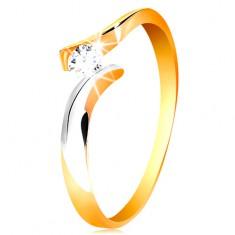 585 arany gyűrű - kerek átlátszó cirkónia, kétszínű és hullámos szárak