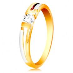Gyűrű 585 aranyból - kétszínű szárak, átlátszó cirkónia szögletes kivágásban