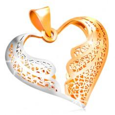 585 arany medál - filigrán szív kétszínű angyalszárnyakkal