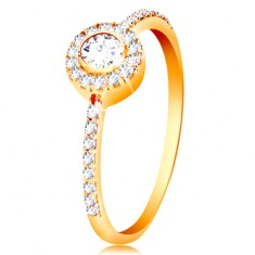 Gyűrű 14K aranyból - kerek cirkónia csillogó körben, cirkóniás szárak