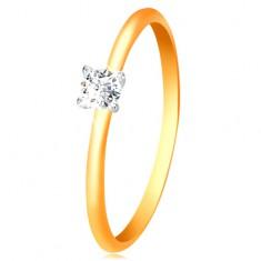 14K arany gyűrű - keskeny kidomborodó szárak, cirkónia fehér aranyból készült foglalatban
