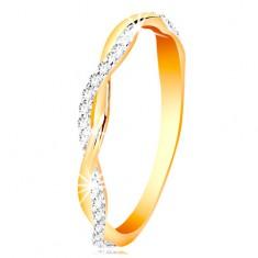 Gyűrű 14K aranyból - két vékony fonott hullám - sima és cirkóniás