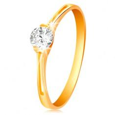 Gyűrű sárga 585 aranyból - csillogó átlátszó cirkónia fényes foglalatban, kivágások
