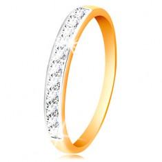 14K arany gyűrű - csillogó sáv átlátszó cirkóniákból fehér arany szegéllyel