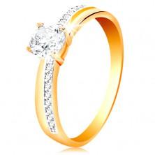 Gyűrű 585 aranyból - keskeny cirkóniás vonalak a szárakon, nagy átlátszó cirkónia