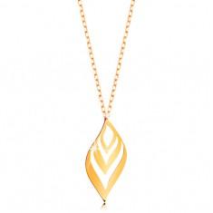 Nyaklánc sárga 14K aranyból - enyhén hullámos levél kivágásokkal, vékony lánc